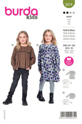 Childrens Dress, Blouse with Yoke – Loose Drape. Burda 9274.