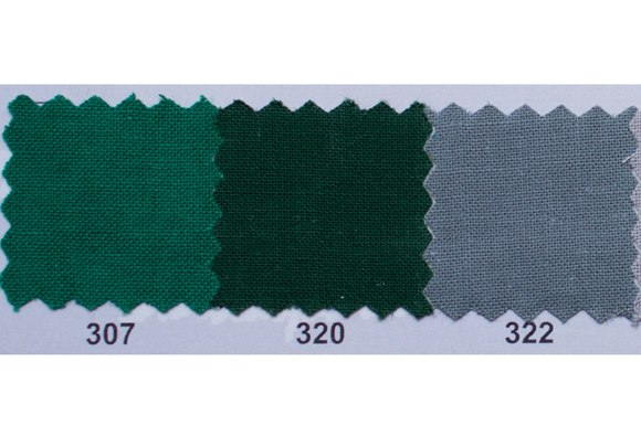 Colored thick cotton in green, dark green and mouse-grey