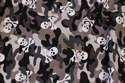 Light cotton in grey camouflage-colors with skulls and bones