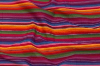 Medium-thick, harsh cotton with multi coloured stribes