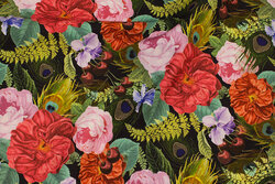 Medium-thickness cotton with roses in digital-print