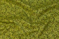 Patchwork-cotton in green and gold with leaf-pattern