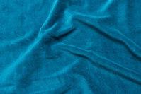Petrol-colored stretch velvet