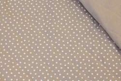 Quiltet double-woven cotton (gauze) sand-colored with white stars