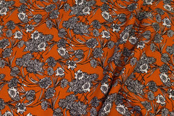 Rust-colored blouse-viscose with flowers