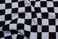 Skakternet cotton, black and white, checks 4 cm