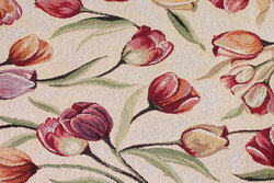 Sand-colored tapestry with tulips