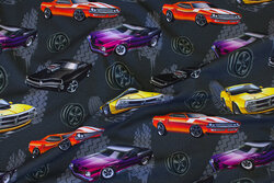 Charcoal cotton-jersey with ca. 10 cm cars in digital-print