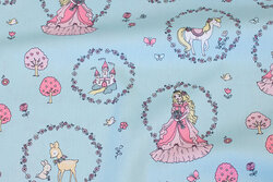 Light turqoise cotton with princesses and castles