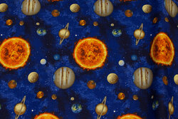 Patchwork cotton with planets