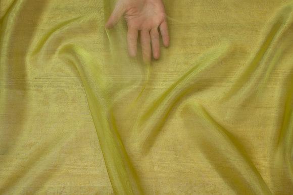 Transparent green-yellow organza