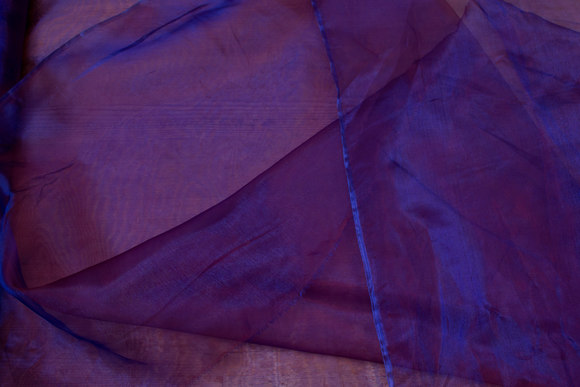 Transparent purple organza with red tone