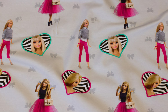 Delicate light grey cotton-jersey withBarbie
