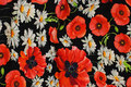 Black cotton-jersey with poppies and daisies