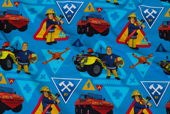 Turqoise-blue cotton-jersey with Fireman Sam