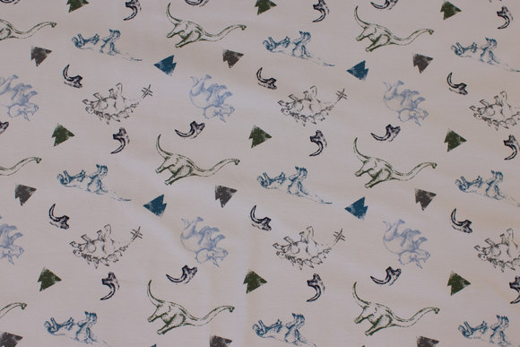 Delicate light grey cotton-jersey with dinosaurs