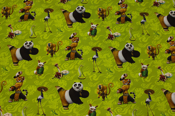 Spring-green cotton-jersey with kung fu panda