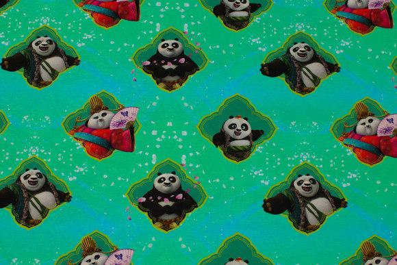 Turqoise-green cotton-jersey with Kung Fu panda