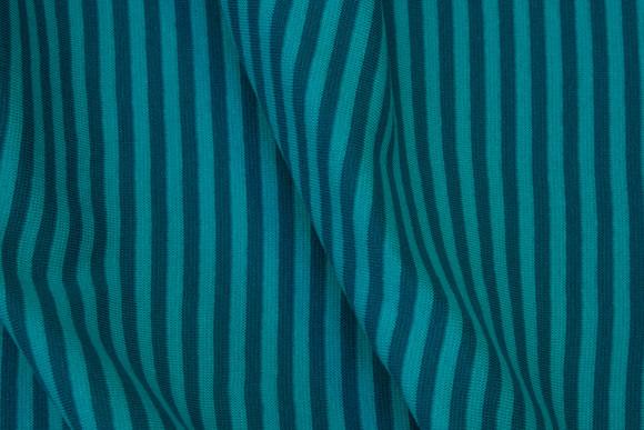 Narrow-striped rib in turqoise and petrol, 4 mm stripes across