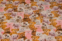 Cotton-jersey with cute teddies in brown, pink and white