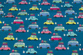 Dark turqoise cotton-jersey with cars in pastel-colors
