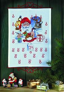 Christmas gift calendar - Santa Claus making presents