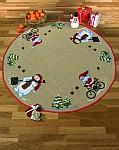 Christmas tree skirts with cycling Santa