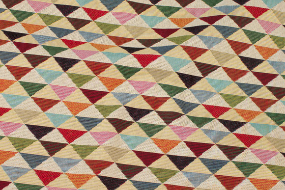 Beige furniture-jacquard with multicolored triangles