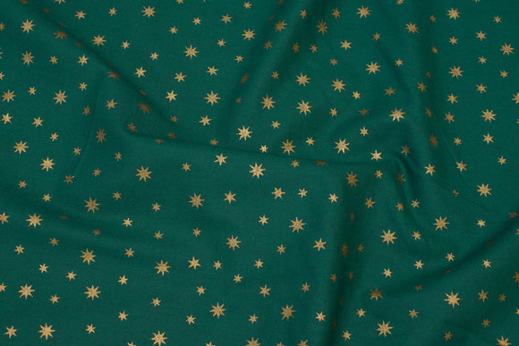 Cotton with goldstars - green