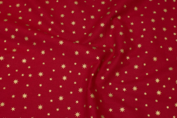 Cotton with goldstars - red