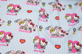 Striped along fabric length. Hello Kitty is ca. 13 cm.