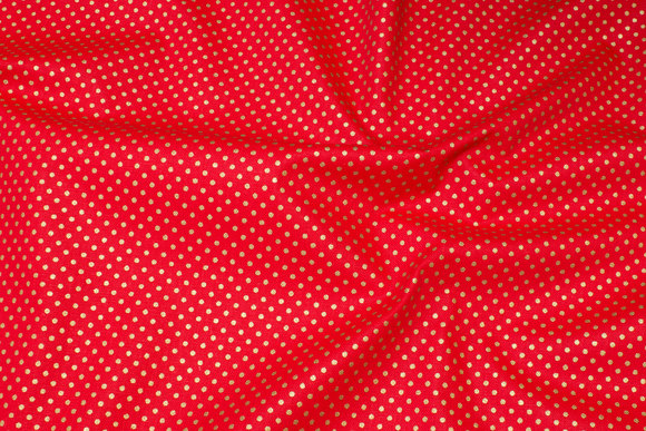 Rugged red deko-cotton with small gold-dots