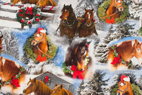 Cotton-jersey with christmas-horses