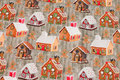 Greyish cotton-jersey with cute honey-cake houses.