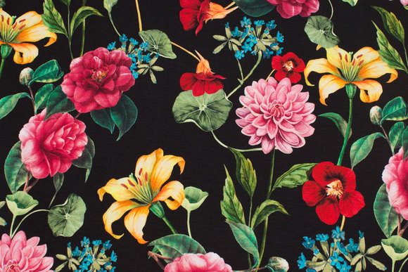 Black cotton-jersey with flowers in digital-print