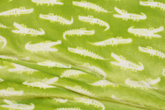Supersoft micro-fleece in lime with white crocodiles