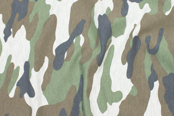 Lightweight sweatshirt fabric with camouflage in green and grey nuances
