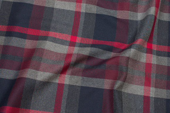 Checks navy, grey and red