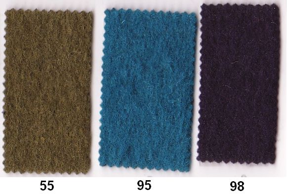 Wool felt in good quality in army, turqoise, eggplant