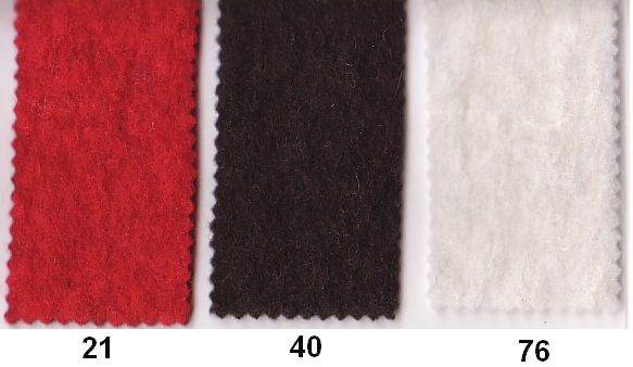 Wool felt in good quality in red, dark brown, off-white