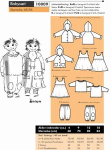 Baby outfit - hooded jacket, dress, pants and shirt. Onion 10009.
