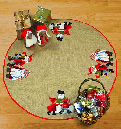 Christmas tree skirts with dancing Santas