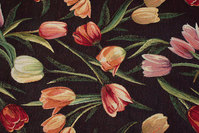 Black furniture-jacquard with red and soft red tulips