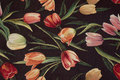 Black furniture-jacquard with red and soft red tulips.