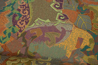 Furniture-jacquard in beautiful green, golden and purple colors