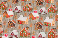 Greyish cotton-jersey with cute honey-cake houses
