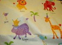 Jungle animals on cotton