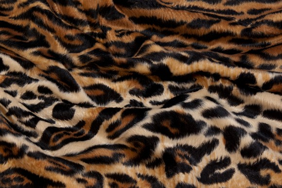 Leopard fake fur in brown-black