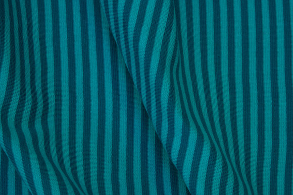 Narrow-striped rib in turqoise and petrol, 4 mm stripes across