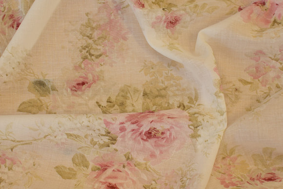 Super-lightweight, lightweight transparent off-white voile with romantic roses